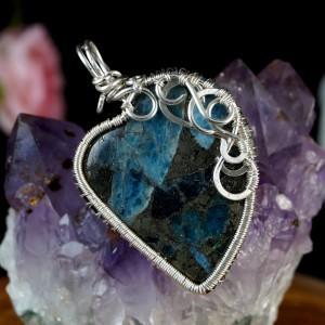 Piryt z kyanitem, Srebrny wisior, ręcznie wykonany, prezent dla niej, prezent dla mamy, prezent urodzinowy, niepowtarzalna biżuteria