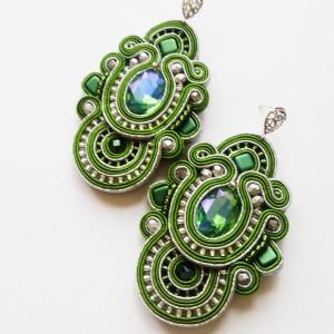 Zielono-srebrne kolczyki sutasz