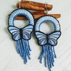 Kolczyki motyle z linii Round Butterfly niebieskie