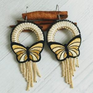 Kolczyki motyle z linii Round Butterfly żółte