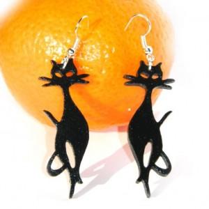 Kolczyki koty, lekkie czarne kolczyki kotki, prezent dla kociary
