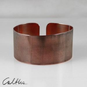 Płótno - miedziana bransoletka szeroka 151026-01