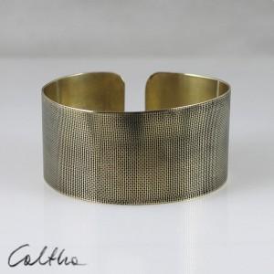 Płótno - mosiężna bransoletka szeroka 130523-04