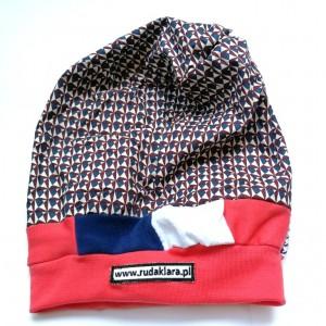 czapka dziecięca jesienna miłą w kratkę dla 8 latki