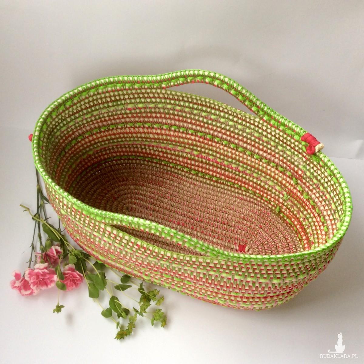 Zielono- różowy owalny kosz