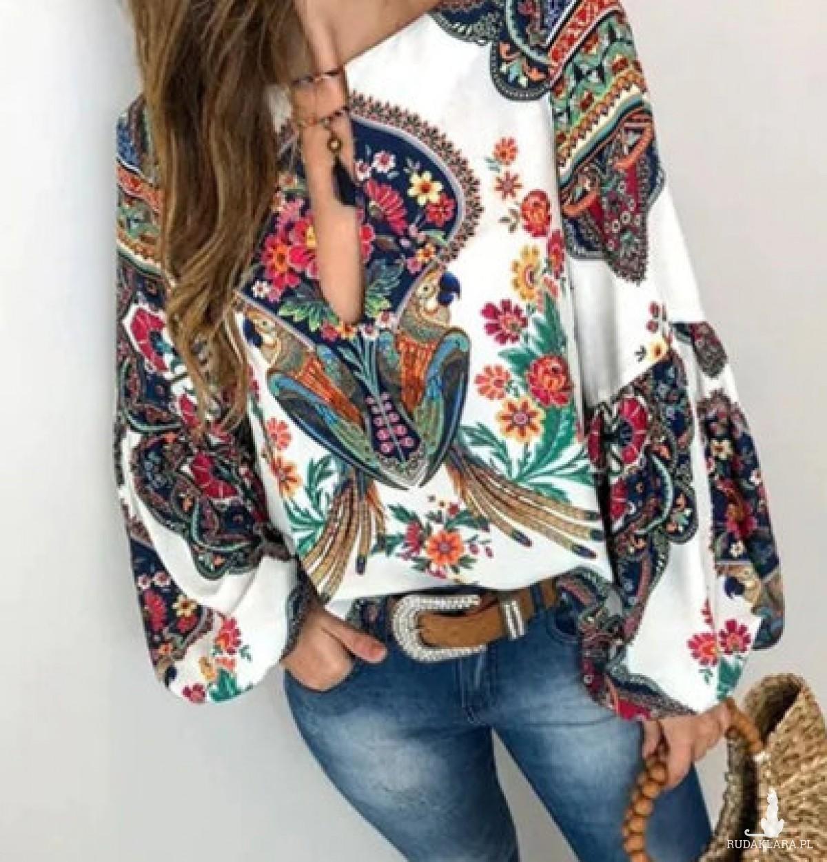 bluzka w stylu boho, etniczna, kolorowa orientalna