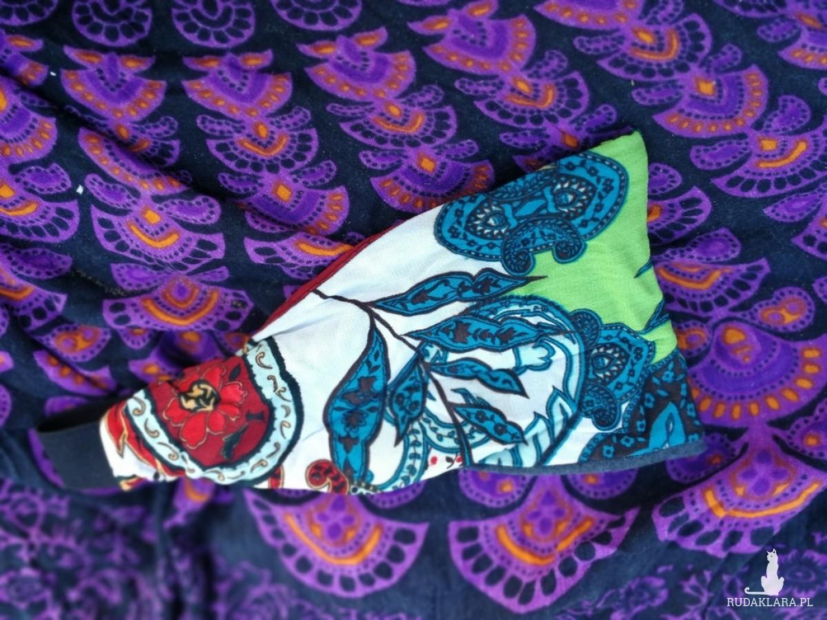 opaska damska szaro kolorowa uniwersalna handmade