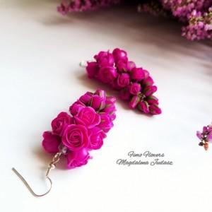 Kolczyki z różami w kolorze fuksji