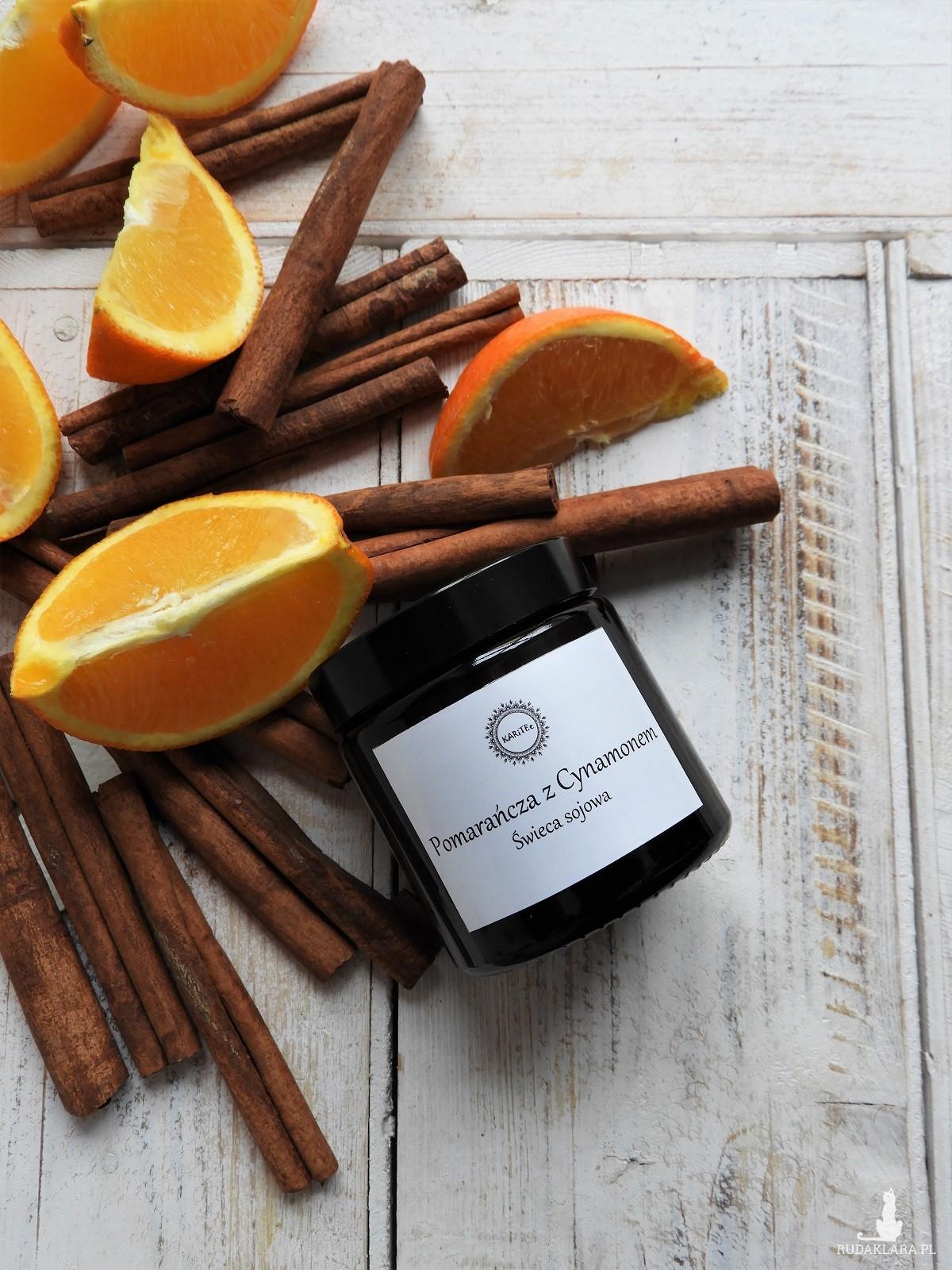 Naturalna, ekologiczna świeca sojowa Pomarańcza z Cynamonem