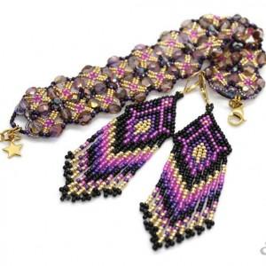 elegancki komplet biżuterii uszyty z kryształków i drobniutkich koralików