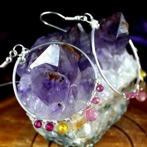 Cytryn, Srebrne kolczyki z cytrynem, turmalinem i rubinem ręcznie wykonane, prezent dla niej, prezent dla mamy prezent urodzinowy, handmade
