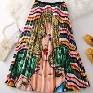 plisowana spódnica rozmiar M motyw kobiety