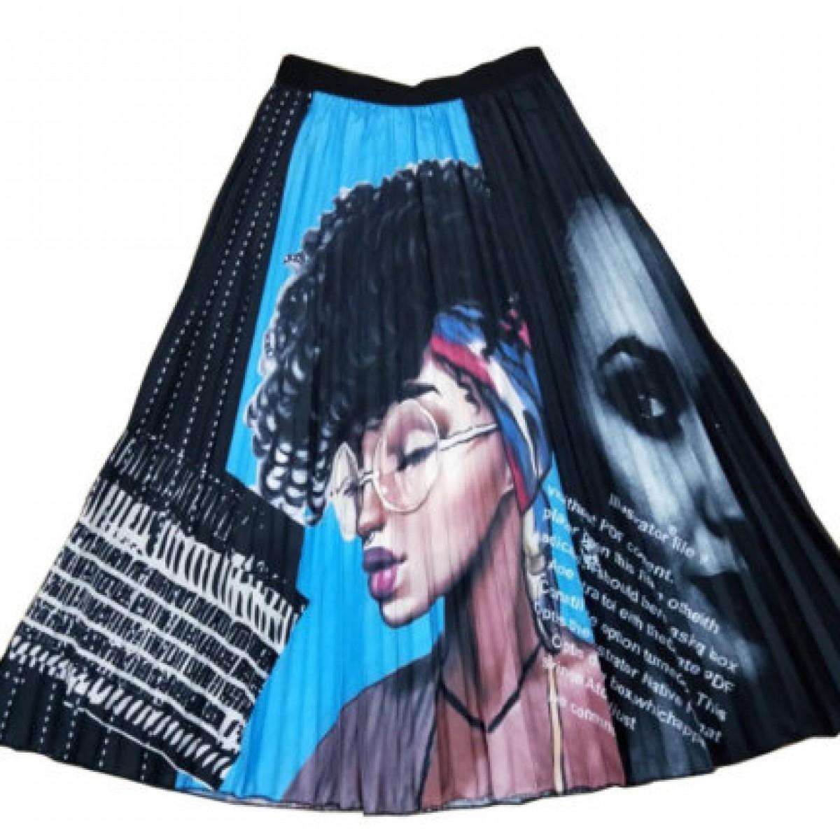 plisowana spódnica rozmiar M /L motyw kobiety