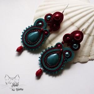 Lillandrum - kolczyki sutasz burgund i turkus