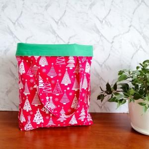 Eko,torba damska na zakupy,czerwona w choinki.