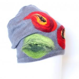 czapka wełniana filcowana ciepła w kwiaty szara