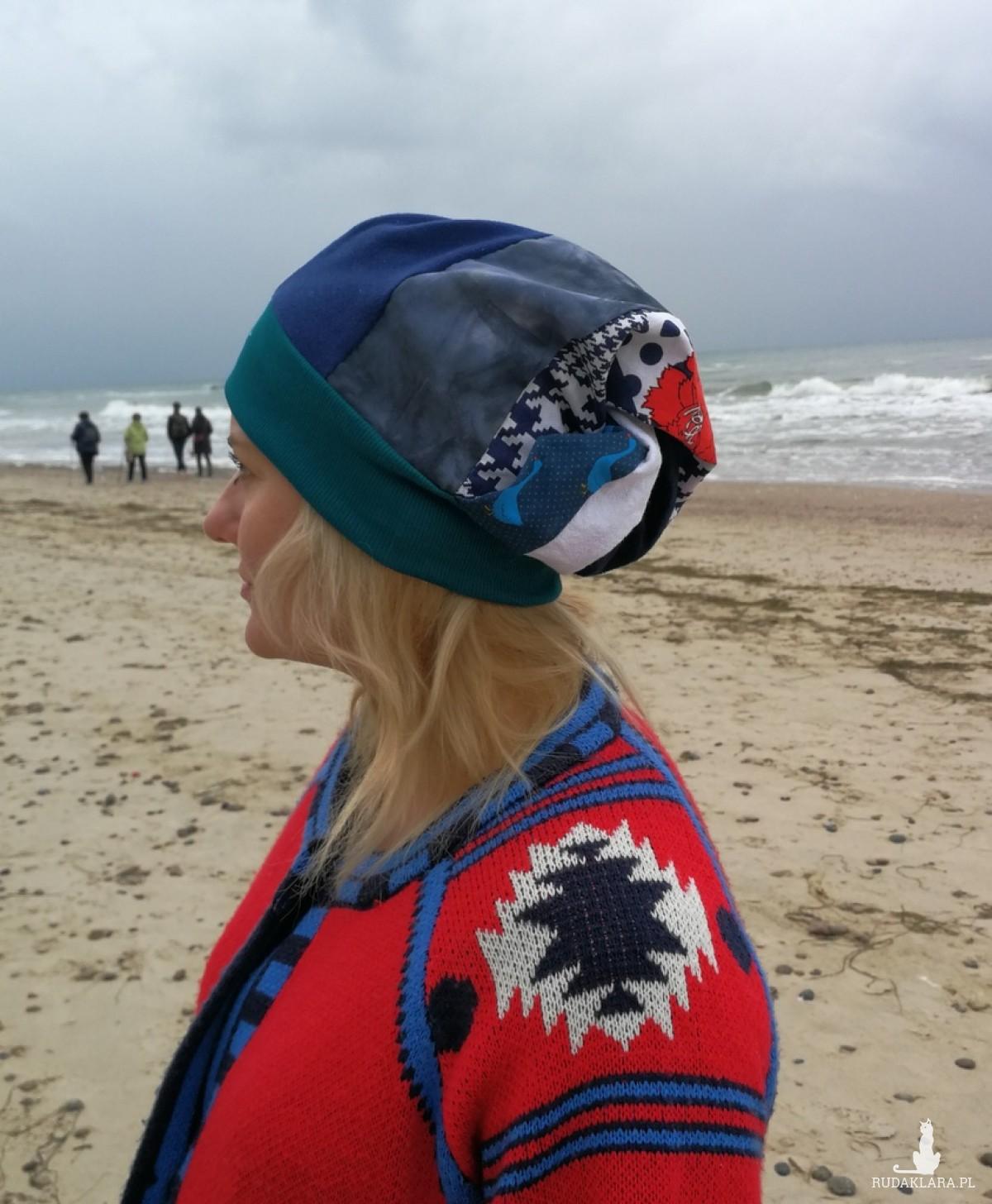 czapka turban wywinięta kolorowa boho damska handmade