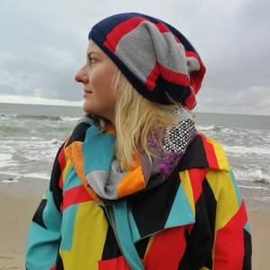 czapka ciepła zimowa patchworkowa handmade
