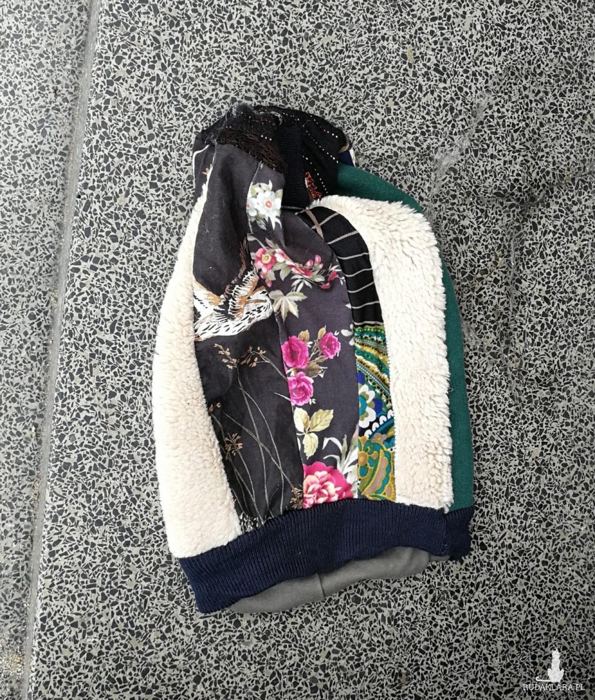 czapka turbanowa etno boho patchwork- box 44- poezja- strasznie się ciesze ze znowu dziś zgrzeszę