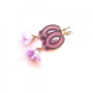 Kolczyki Sutasz kwiatki we fiolecie i czerni