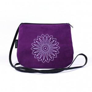 Mała torebka damska Fioletowa z białym haftem