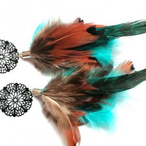klipsy lekkie pióra długie ażurowe