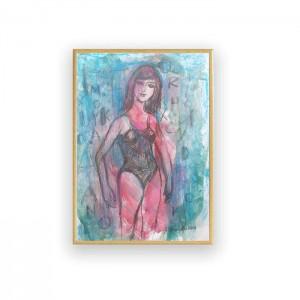 rysunek do sypialni, nowoczesny obraz, szkic w ramce, mała grafika do loftu, oprawiony szkic