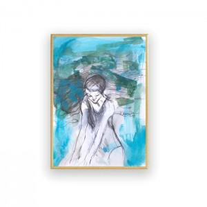 oryginalny obraz z pływaczką, nowoczesna akwarela, pływaczka rysunek, grafika do pokoju,  malowana ręcznie obrazek, oprawiony szkic z dziewczyną
