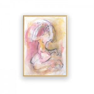 mały obraz do sypialni, oprawiony rysunek, kobieta akwarela, malowany ręcznie obraz, akt rysunek, szkic w ramce