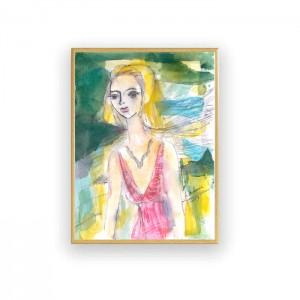 ładna akwarela z dziewczyną, malowany ręcznie obraz z kobietą, kolorowa grafika do salonu, kobieta obraz na ścianę