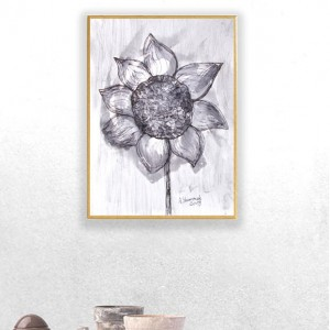 ładna grafika do salonu, oprawiony rysunek ze słonecznikiem, malowany ręcznie obraz, szara grafika na ścianę