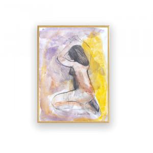 biało czarny rysunek na ścianę, oprawiona grafika skandynawskia, szary obraz z kwiatkiem