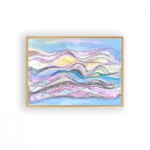oprawiona akwarela, morze rysunek, malowany ręcznie obrazek, abstrakcja grafika na ścianę