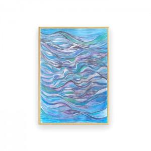 morze rysunek w ramce, abstrakcja do pokoju, oprawiony rysunek z morzem, nowoczesna grafika do sypialni, mała abstrakcja na ścianę