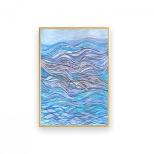 morze rysunek na ścianę, mała abstrakcja do sypialni, nowoczesny obraz do pokoju, oprawiona grafika, mały obraz z morzem