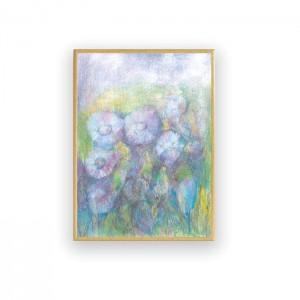 pastelowy obraz z łąką, oprawiony rysunek z kwiatami, łąka grafika do sypialni, mały obraz na ścianę