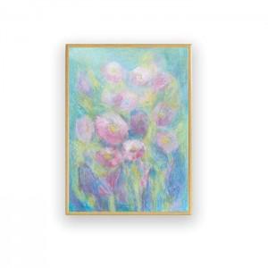 pastelowy rysunek na ścianę, mały obraz z łąką, pastelowy pejzaż, oprawiony szkic z kwiatami