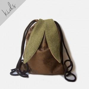 Skórzany plecak króliczek z zielonymi uszami