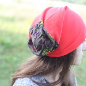 czapka pomarańczowa wiosenna bez podszewki