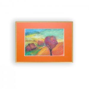 oprawiony pejzaż jesienny, mały obrazek do pokoju, kolorowy rysunek na scianę, pejzaż w ciepłych kolorach, mały obraz do salonu