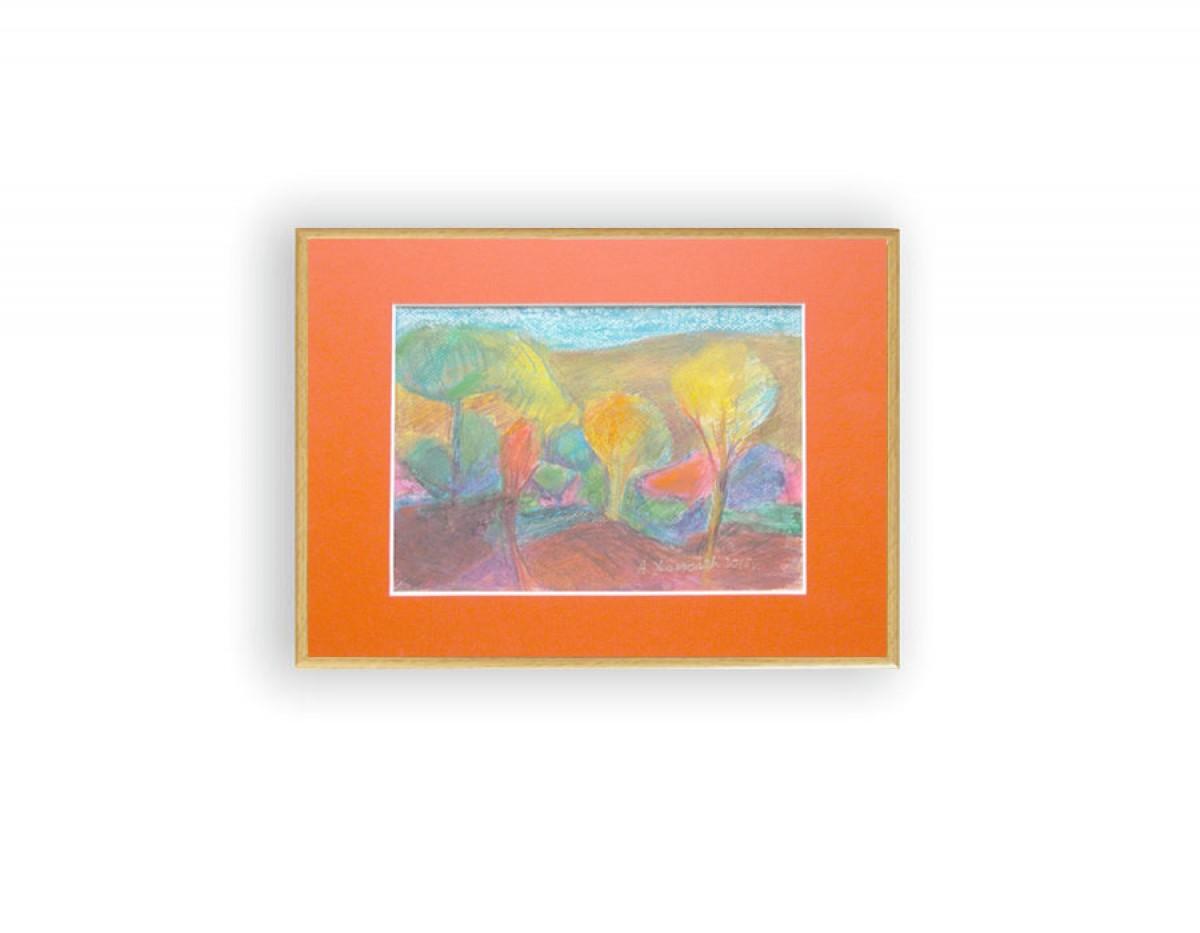 kolorowy pejzaż, oprawiony rysunek, jesień obraz, mały obraz z pejzażem, jesienny obraz do pokoju