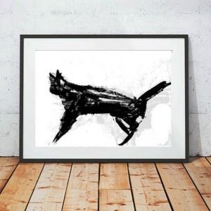 kot plakat, 30x40 grafika z kotem, minimalizm dekoracja na ścianę, nowoczesny plakat do pokoju, plakat skandynawski styl