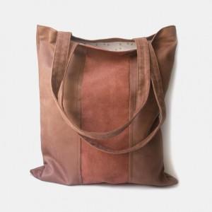 Duża dwukolorowa zamszowa torba na ramię