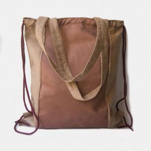 Dwukolorowy zamszowy plecak torba 2w1