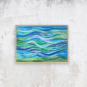 nowoczesny rysunek z morzem, abstrakcyjny obraz, mały obraz do pokoju, oprawiona grafika morska, morski obraz na ścianę