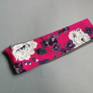 opaska damska amarantowa w kwiaty- box 44- obwód uniwersalny, szerokość 8cm, idealna na czoło, pojedynczy egzemplarz, polecam