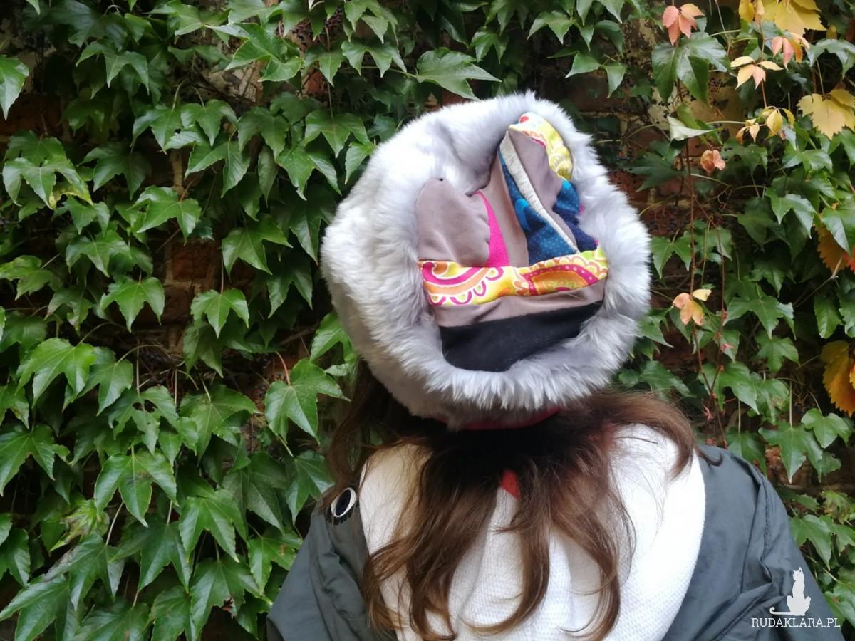 czapka futrzana szara kolorowa boho zimowa