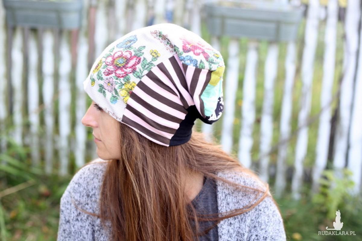 czapka patchworkowa damska kolorowa