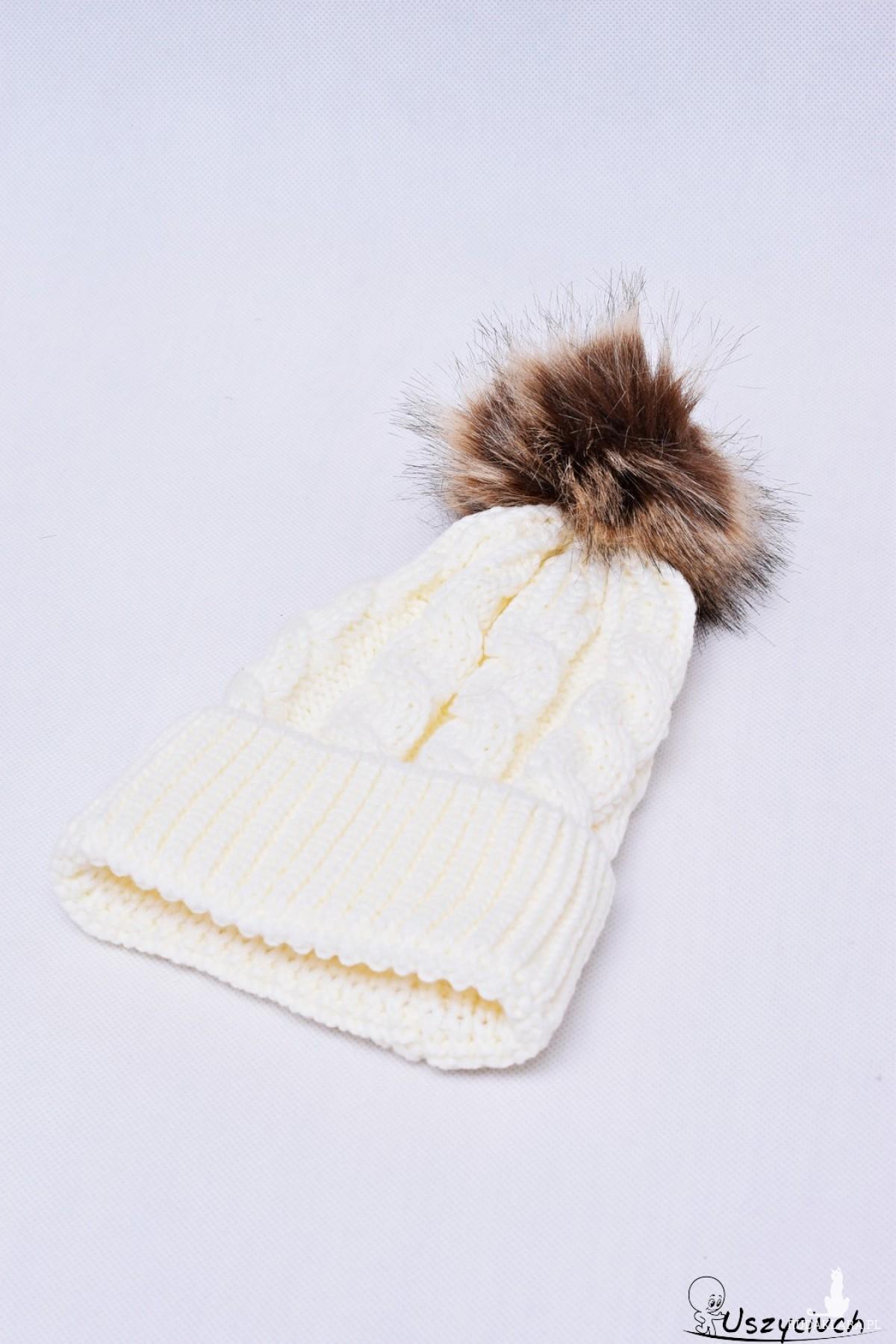 Czapka zimowa z pomponem, czapka na zimę, ciepła gruba czapka biała