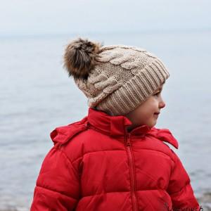 Czapka zimowa z pomponem, czapka na zimę, ciepła czapka beżowa